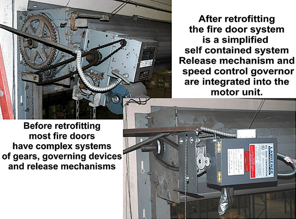 retrofit firedoor operator before and after