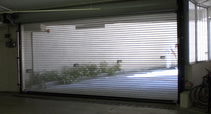 ventilated commercial door in a garage